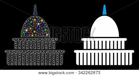 Glowing Mesh Government Building Icon With Glow Effect. Abstract Illuminated Model Of Government Bui