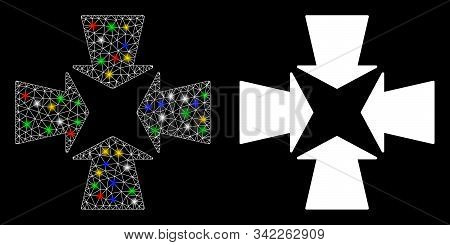 Glossy Mesh Shrink Arrows Icon With Glitter Effect. Abstract Illuminated Model Of Shrink Arrows. Shi