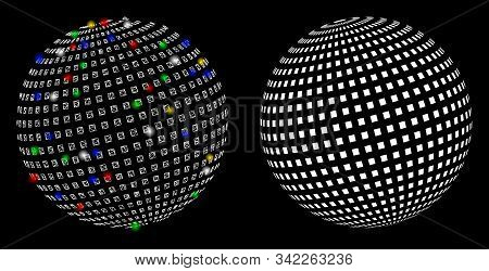 Glossy Mesh Square Dotted Abstract Sphere Icon With Lightspot Effect. Abstract Illuminated Model Of