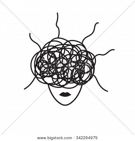 Anxiety Symbol, Woman In Stress, Concept Of Anxiety, Upset, Depressed Woman, Vector Black Line Illus