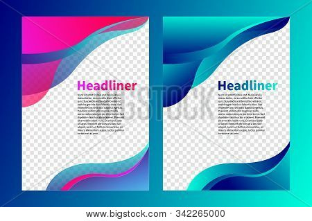 Cover Of Brochure, Flyer Design, Abstract Background With Waves, Wavy Elements Of Design, Layout Of