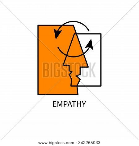 Empathy Logo, Coach Icon, Two Faces And Arrows, Psychologist Sign, Empathy Idea, Psychology Concept,