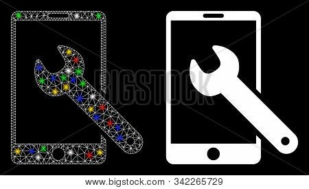 Glossy Mesh Smartphone Setup Wrench Icon With Sparkle Effect. Abstract Illuminated Model Of Smartpho