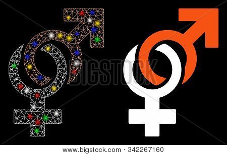 Glowing Mesh Sexual Symbols Icon With Glare Effect. Abstract Illuminated Model Of Sexual Symbols. Sh