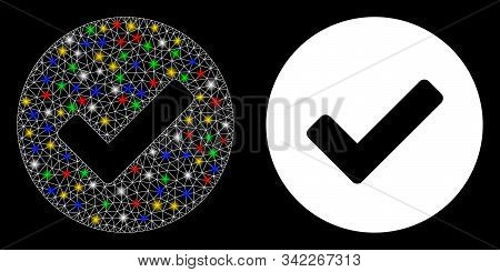 Bright Mesh Yes Tick Icon With Glare Effect. Abstract Illuminated Model Of Yes Tick. Shiny Wire Fram