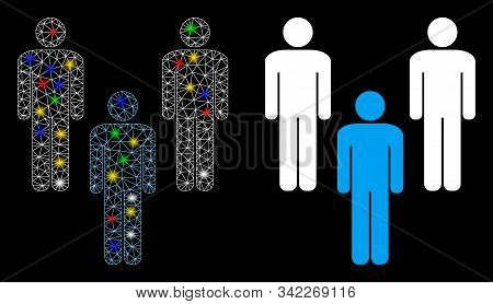 Glossy Mesh People Community Icon With Glare Effect. Abstract Illuminated Model Of People Community.