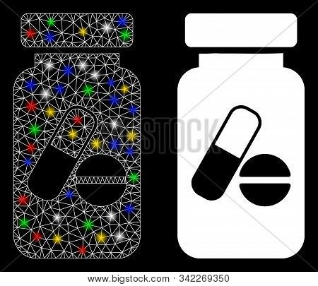 Glowing Mesh Medication Vial Icon With Glow Effect. Abstract Illuminated Model Of Medication Vial. S