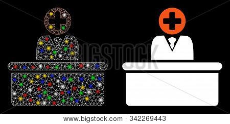 Bright Mesh Medical Bureaucrat Icon With Glow Effect. Abstract Illuminated Model Of Medical Bureaucr