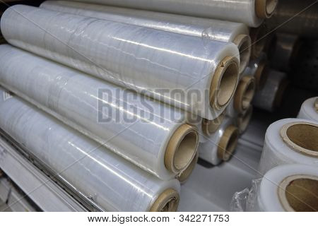 Rolled Stretch Palletizer Tape At Warehouse Counter