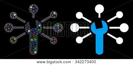 Glossy Mesh Service Relations Icon With Glitter Effect. Abstract Illuminated Model Of Service Relati