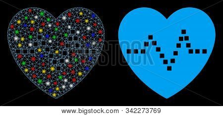 Glossy Mesh Heart Pulse Icon With Glare Effect. Abstract Illuminated Model Of Heart Pulse. Shiny Wir
