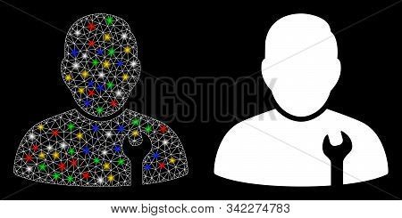 Glossy Mesh Serviceman Icon With Glare Effect. Abstract Illuminated Model Of Serviceman. Shiny Wire