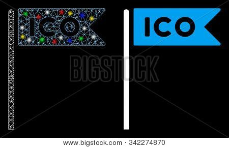 Glossy Mesh Ico Flag Icon With Sparkle Effect. Abstract Illuminated Model Of Ico Flag. Shiny Wire Fr