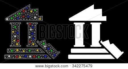 Glossy Mesh Historic Ruins Icon With Glitter Effect. Abstract Illuminated Model Of Historic Ruins. S