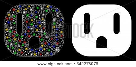 Glowing Mesh Electric Socket Icon With Sparkle Effect. Abstract Illuminated Model Of Electric Socket
