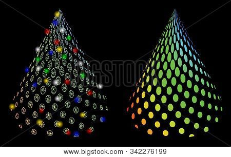 Glossy Mesh Dotted Abstract Cone Icon With Lightspot Effect. Abstract Illuminated Model Of Dotted Ab