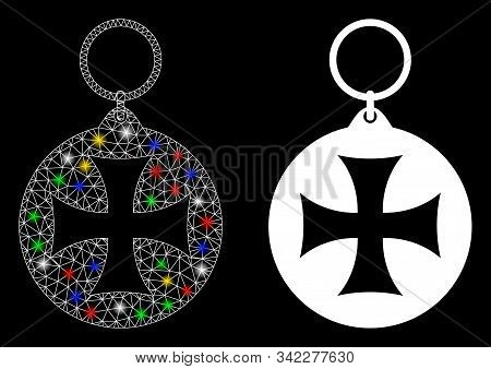 Glossy Mesh Maltese Cross Medal Icon With Glare Effect. Abstract Illuminated Model Of Maltese Cross