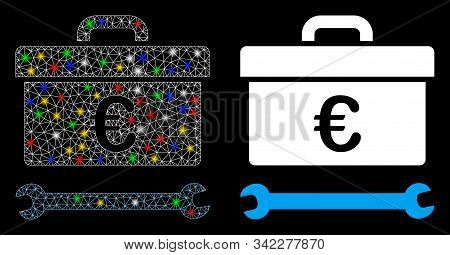 Flare Mesh Euro Toolbox Icon With Lightspot Effect. Abstract Illuminated Model Of Euro Toolbox. Shin