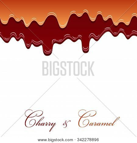 Caramel Sauce And Cherry Jam Seamless Pattern. 3d Caramel Drop Liquid Isolated White Background. Spl