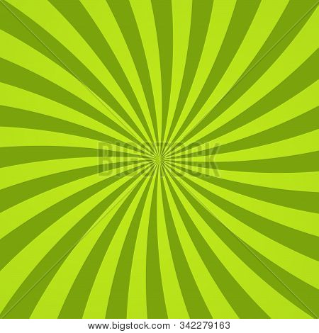 Sun Rays Background. Green Radiate Sun Beam Burst Effect. Sunbeam Light Flash Boom. Template Starbur