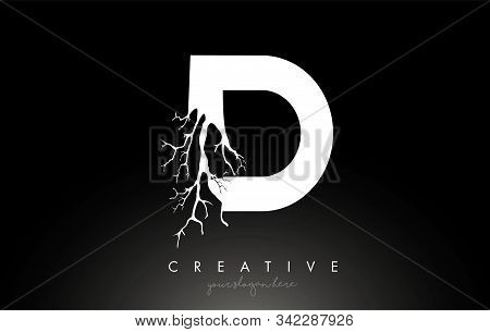 Letter D Design Logo With Creative Tree Branch. D Letter Tree Icon Logo  Vector Illustration.