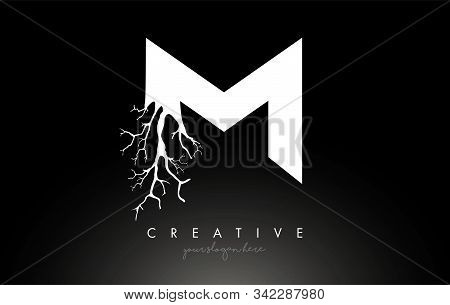 Letter M Design Logo With Creative Tree Branch. M Letter Tree Icon Logo  Vector Illustration.