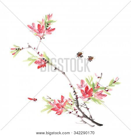 Traditional Chinese painting of peach flowers