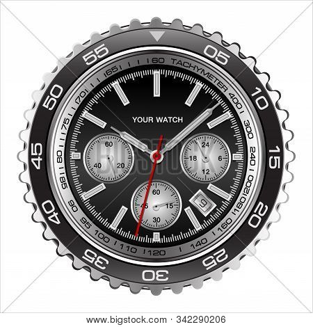 Realistic Wristwatch Face Black Steel Chronograph Luxury For Men On White Background Vector Illustra