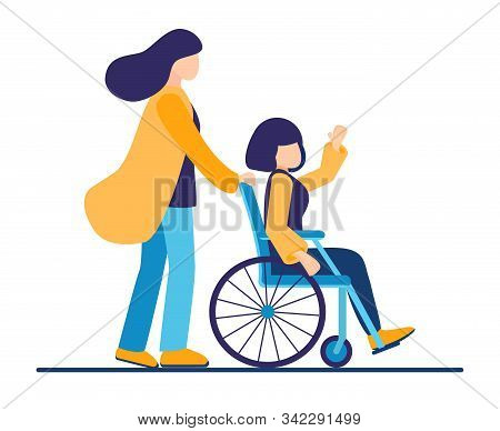 The Sister Helps The Young Relative Of A Disabled Person In A Wheelchair In Transportation. Spend Ti