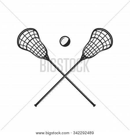 Lacrosse Sticks And Ball Silhouettes Isolated On White Background. Crossed Lacrosse Sticks. Vintage