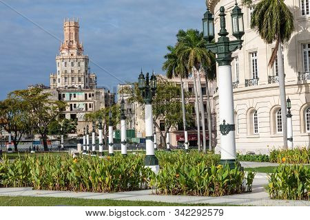 Havana, Cuba - December 21,2019: The Capitol In La Habana Vieja, Cuba, Caribe.