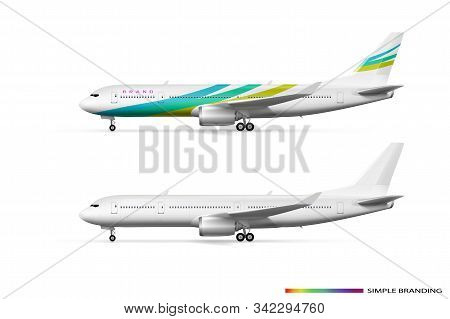 Blank White Airplane Or Airliner Side View