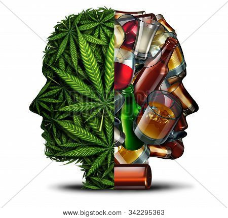 Marijuana And Alcohol Drug Risk And Alcoholism Concept As A Group Of Weed Leaves And Beer Wine Hard