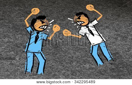 Employee Fight And Fighting Coworkers Or Employees In A Work Conflict And Verbal Or Physical Confron