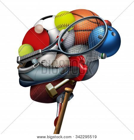 Sport Brain And Sports Psychology Concept As A Group Of Exercise Equipment Shaped As A Human Thinkin