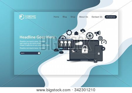 Flat Design Website Landing Page Vector Template