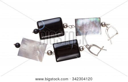 Handmade Silver Earrings From Polished Agate And Iridescent Nacre Beads Isolated On White Background