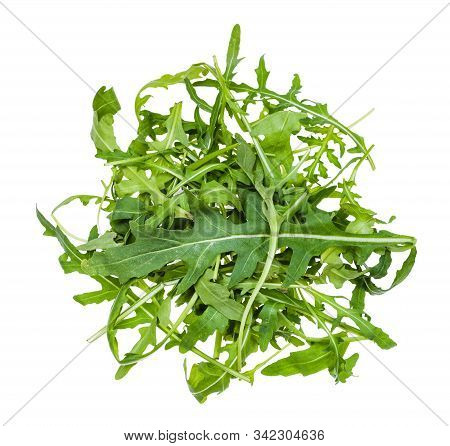 Top View Of Heap From Green Leaves Of Arugula (rocket, Eruca, Rucola) Plant Isolated On White Backgr