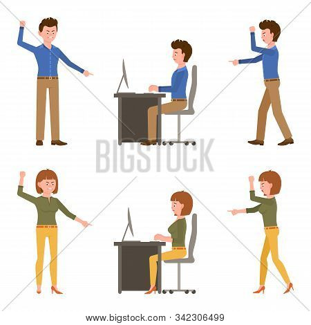 Angry, Desperate, Upset, Sad Office Boy And Girl Vector Illustration. Shouting, Pointing Finger, Sco