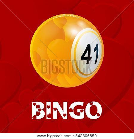 Valentine Bingo Ball With Hearts And Decorative Bingo Text