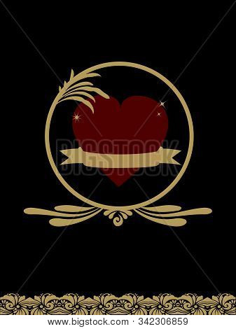 Red Love Heart With Blank Gold Banner Over Black Background With Golden Vintage Decorations