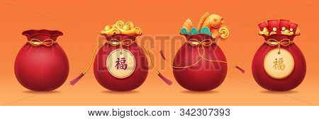 Bag With Ribbon Or Sack With Tassels, Pouch With Golden Ingot, Packet With Money Or Hangbao, Sac Wit