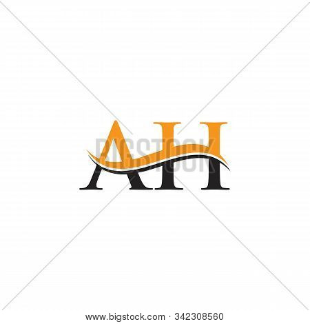 Ah Letter Logo Design Vector With Blue And Grey Colors. Ah Logo Design.