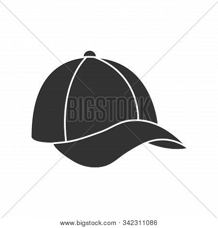 Baseball Cap Silhouette. Hat Icon, Baseball Cap. Isolated Outline On A White Background. Flat Style