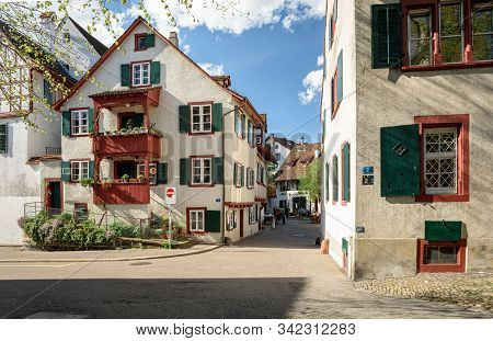 Basel, Switzerland - April 17, 2019. Old Town. View Of The Historical Residential Neighborhood. Gros