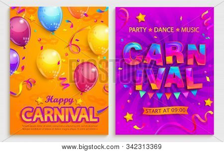 Set Of Flyers For Carnival Party.confetti, Balloons, Flags For Holiday.mardi Gras Festive, Carnaval.