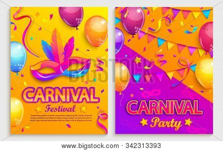 Set Of Flyers For Carnival Festival.mask With Feathers, Confetti, Balloons, Flags For Party.mardi Gr