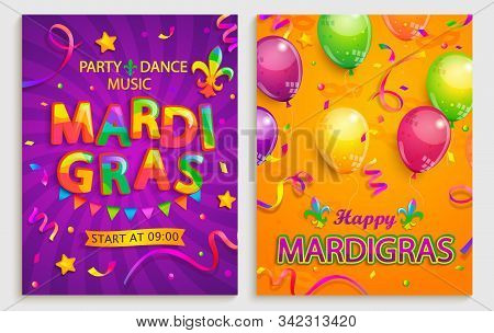 Set Of Flyers For Mardigras Carnival Party.confetti, Balloons, Flags For Holiday.mardi Gras Festive,