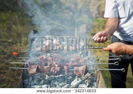 Appetizing Lula Kebab Grilled On Metal Skewer. Hand And Swallow Kebab Swab. Shish Kebab On A Metal S