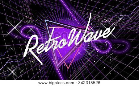Synthwave Retro Wave, Cyber Landscape With Laser Grid Luminous Rays. Horizontal Web Banner, Vector I